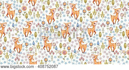 Woodland Vector Nursery Watercolor Seamless Pattern Design For Fabric, Wallpaper, Baby Shower, Birth