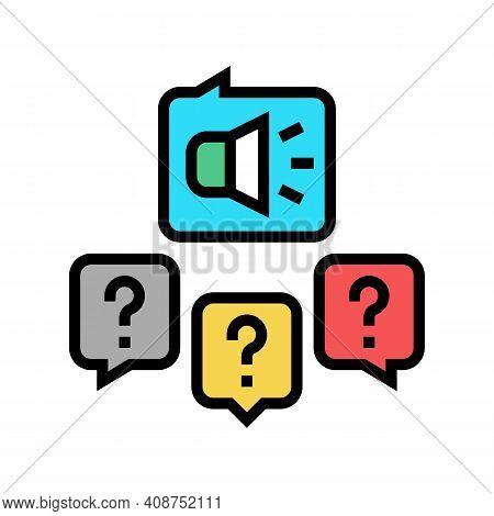 Responses To Media Inquiries Color Icon Vector. Responses To Media Inquiries Sign. Isolated Symbol I