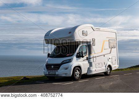 Neist Point, Scotland - August 5, 2019: Eura Mobil Terrestra Fiat Ducato Maxi Motorhome Parked In Sc