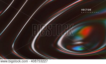 3d Wavy Fluorescent Surface. Abstract Waving Background With Thin Film Effect. Liquid Multicolor Pat