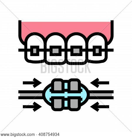 Work Process Tooth Braces Color Icon Vector. Work Process Tooth Braces Sign. Isolated Symbol Illustr