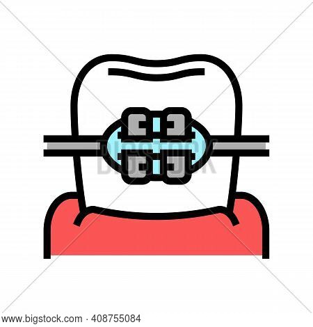 Mount Tooth Braces Color Icon Vector. Mount Tooth Braces Sign. Isolated Symbol Illustration