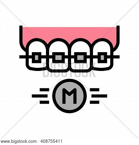 Metal Material Tooth Braces Color Icon Vector. Metal Material Tooth Braces Sign. Isolated Symbol Ill