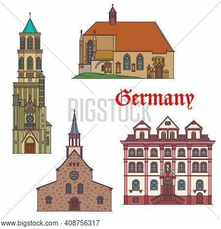 Germany Landmarks Architecture In Bad Wurttemberg, German Travel Architecture, Vector. Germany Rottw