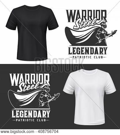 Knight Warrior, Armor Sword And Shield T-shirt Print Vector Mockup, Patriotic Club Emblem. Heraldic