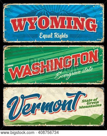 Washington, Vermont And Wyoming Usa State Vintage Signs. Vector Travel And Tourism Banners With Amer