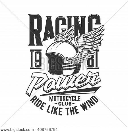 Motorcycle Racers Club And Motor Races Helmet With Wing, Retro Vector Icon. Motorbike Sport Club T-s