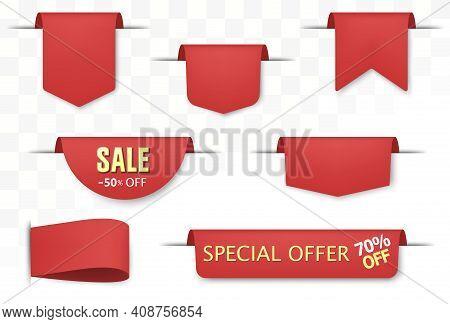 Sale Tags Set. Red Discount Badges And Big Deals Labels. Vector
