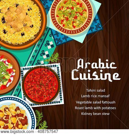 Arabic Cuisine Food Restaurant Banner. Roast Lamb With Potatoes, Rice Mansaf And Kidney Bean Stew, V