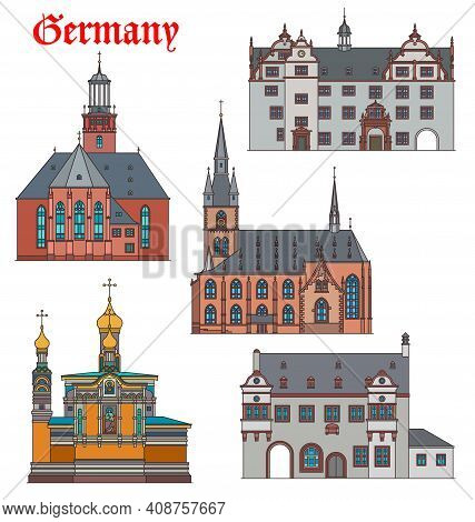 Germany Landmarks, Travel Architecture And Darmstadt Buildings, Churches And Cathedrals. German Orth