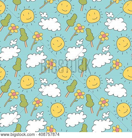 Pattern Seamless Kids With Weather Doodle Element. Weather. Clouds And Sun. Cute Vector Characters.