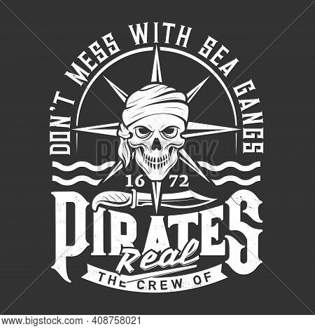 Pirate Or Corsair Skull T-shirt Print Or Emblem. Human Skull In Bandana Or Scarf, Pirate Knife And W