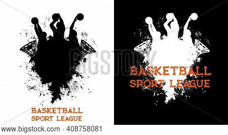 Basketball League Players And Ball In Basket Hoop, Sport Team Club Vector Poster. Basketball League