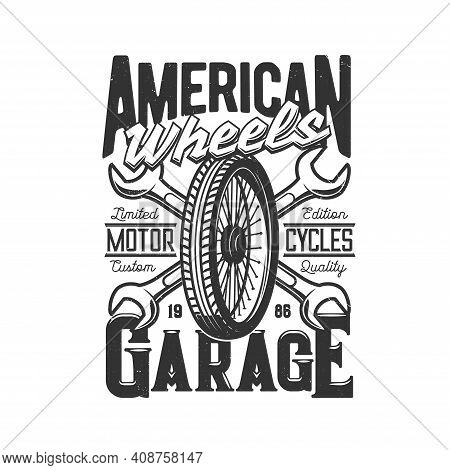 Garage Custom Motorcycle, Motor Car Races And Speedway Wheel, Vector Icon Or T-shirt Print. Garage C