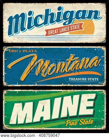 Usa States Travel And Tourism Grunge Banners With Vector American Michigan, Montana And Maine. Vinta