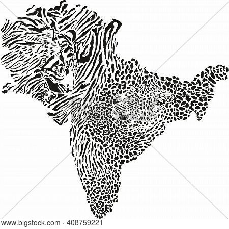 Vector Illustration Of A Tiger Fur Pattern And Tiger And Leopard Head Background In The Shape Of The