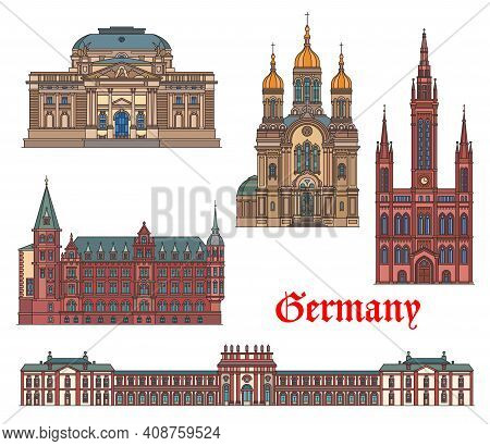 Germany Landmarks, Travel Architecture Of Wiesbaden, German Famous Buildings, Vector. Hessisches Sta