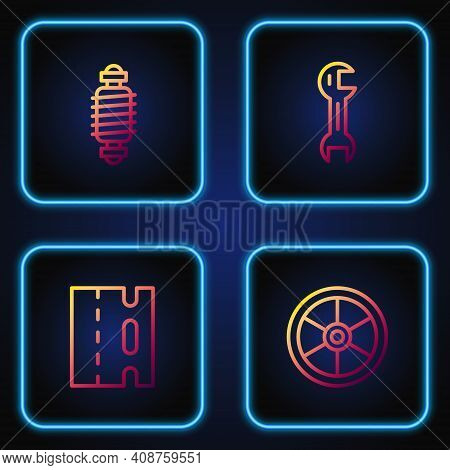 Set Line Bicycle Wheel, Lane, Suspension And Wrench Spanner. Gradient Color Icons. Vector