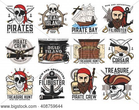 Pirates Island, Treasure Hunt Adventure And Filibuster Crew Emblems. Pirate Bearded Face And Skull,