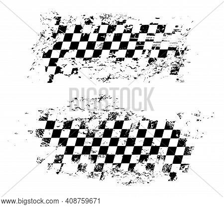 Racing Flag Grunge Design Of Vector Car Race Sport, Auto Rally And Motocross. Checkered Pattern Of S