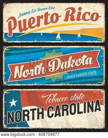 Puerto Rico, North Dakota And North Carolina States Metal Plates. United States Of America Region Sh