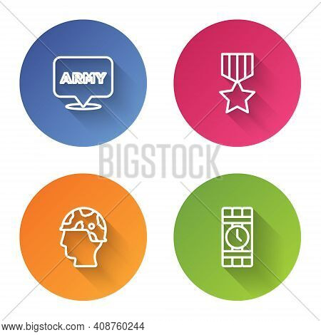 Set Line Military Army, Reward Medal, Army Soldier And Dynamite And Timer Clock. Color Circle Button