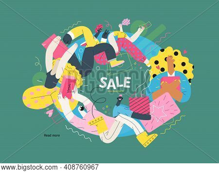 Discounts, Sale, Promotion Vignette - Modern Flat Vector Concept Illustration Of People Crowd Runnin