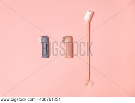 Toothbrushes For Dogs And Cats. Pets Teeth Care Kit. Veterinary Medicine. Pink And Blue Toothbrushes