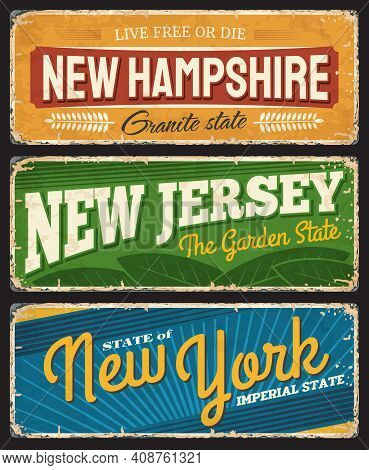 Vintage Banners New Hampshire, New Jersey And New York American States, Vector Sign For Travel Desti