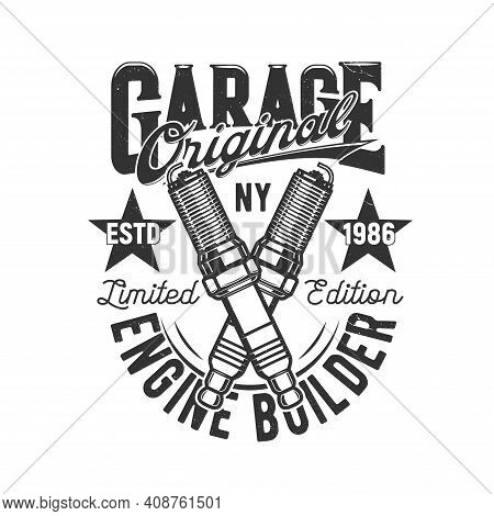 Garage, Car And Motorcycle Custom Engine Icon, Vector Motor Races T-shirt Print. Garage Mechanic And