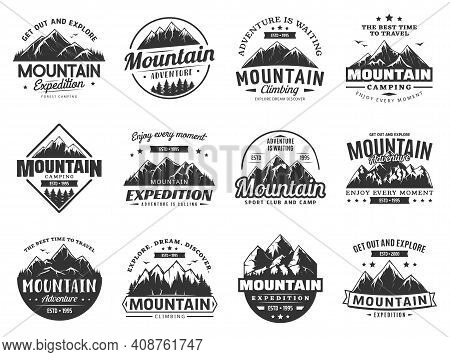 Mountain Expedition And Rock Climbing Vector Icons. Snowy Peaks Monochrome Silhouettes, Steep Rocky