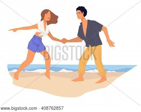 Man And Woman Practicing Dances By Seaside Vector