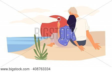 Couple Watching Sunset By Seaside Sitting On Sand