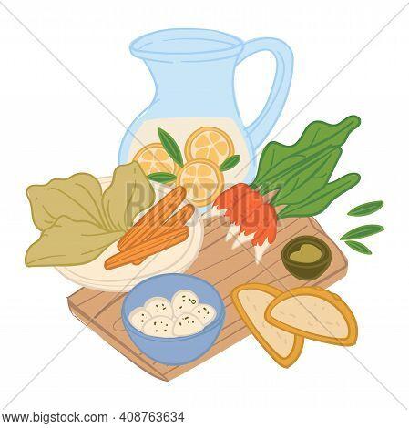Restaurant Or Diner Meal Served On Wooden Board