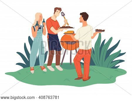 Friends Grilling Meat, Barbeque Weekends And Fun