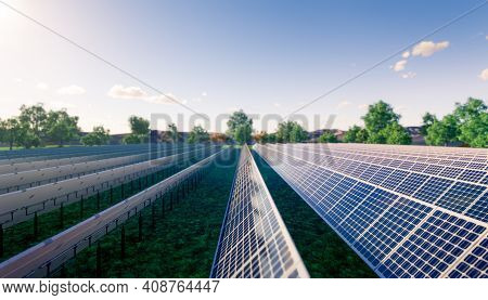3d Rendering Of Solar Farm Or Solar Power Plant Consist Of Solar Cell Or Photovoltaic Cell In Panel.