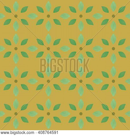 Abstract Stylized Wildflower Blossom Seamless Pattern Vector Background. Beautiful Ochre And Sage Gr