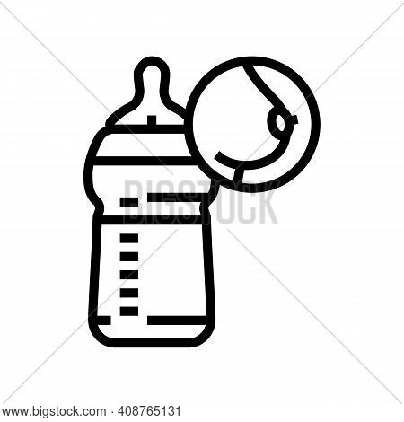 Bottle Feeding Line Icon Vector. Bottle Feeding Sign. Isolated Contour Symbol Black Illustration