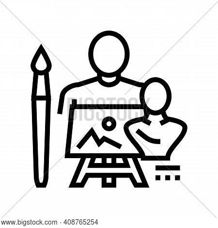 Art Expert Line Icon Vector. Art Expert Sign. Isolated Contour Symbol Black Illustration