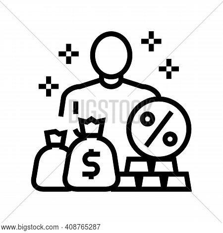 Economic Expert Line Icon Vector. Economic Expert Sign. Isolated Contour Symbol Black Illustration