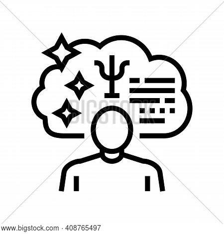 Psychological Expert Line Icon Vector. Psychological Expert Sign. Isolated Contour Symbol Black Illu