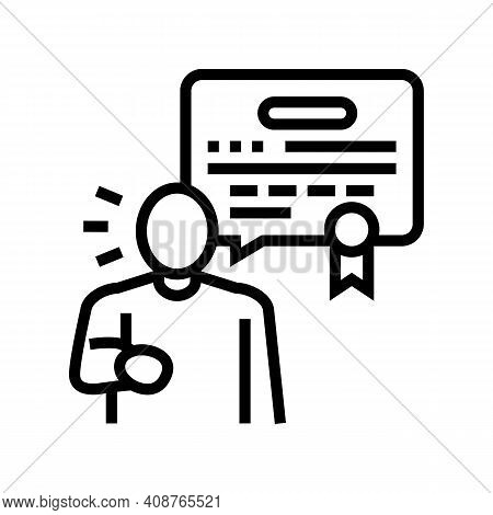 Judgment Expert Line Icon Vector. Judgment Expert Sign. Isolated Contour Symbol Black Illustration