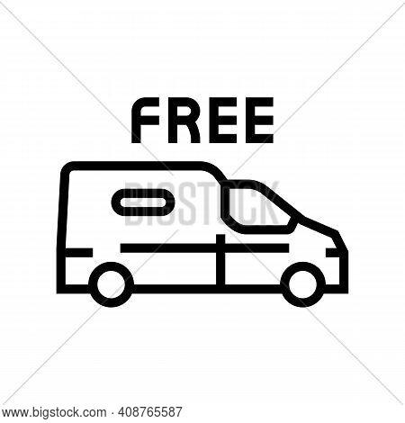 Van Transportation Free Shipping Line Icon Vector. Van Transportation Free Shipping Sign. Isolated C