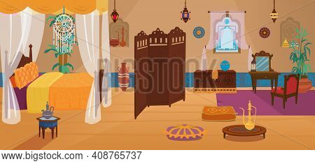 Traditional Middle Eastern Bedroom With Furniture And Decoration Elements.four Poster Bed With Dream