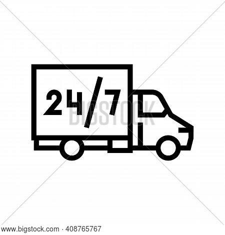 Truck Around Clock Free Shipping Service Line Icon Vector. Truck Around Clock Free Shipping Service