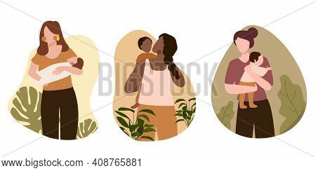 Mom And Baby Love Pose Set Collection With Cartoon Flat Style