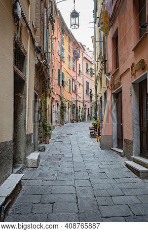 Porto Venere, Italy - October, 2020: Cityscape. Narrow Street In Old Town Of Porto Venere, Liguria,