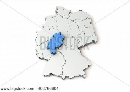 Map Of Germany Showing Hessen Region. 3d Rendering