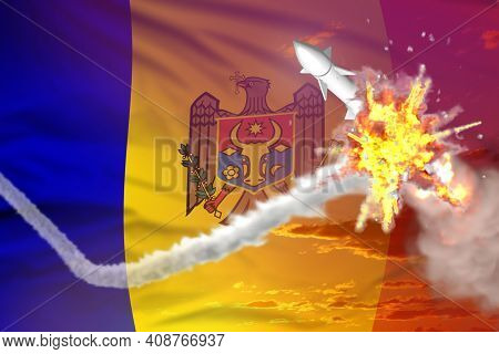 Moldova Intercepted Ballistic Warhead, Modern Antirocket Destroys Enemy Missile Concept, Military In