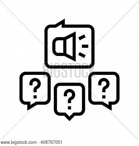 Responses To Media Inquiries Line Icon Vector. Responses To Media Inquiries Sign. Isolated Contour S